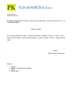 Obavijest o nepostojanju gospodarskih subjekata-sukob interesa čl. 13 ZJN